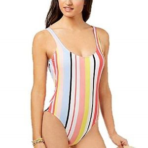 Bar III High Leg One Piece Swim Suit White Stripe